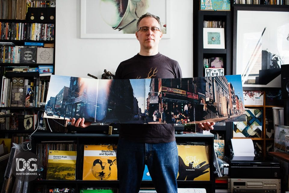 Kevin Foakes, also known Stricyly Kev of DJ Food, a vinyl record collector from London, UK photographed with his vinyl collection at his home for Dust & Grooves. © Copyright - Eilon Paz - www.dustandgrooves.com